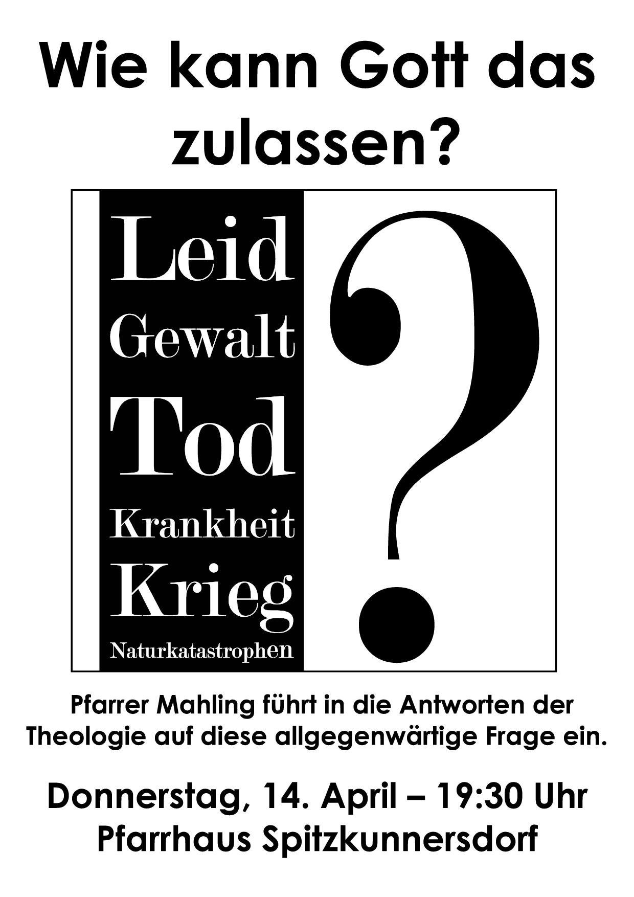 Plakat Gemeindeabend Theodizee